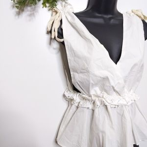 Endless Rose Top XS White Cross Over Lace Trim Pep